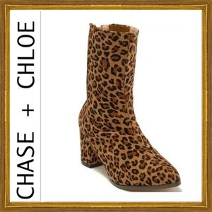 Chase+Chloe Isella Leopard Print Suede Boots